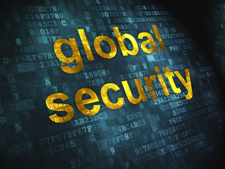 Protection concept  pixelated words Global Security on digital background, 3d render Stock Photo - 17885852