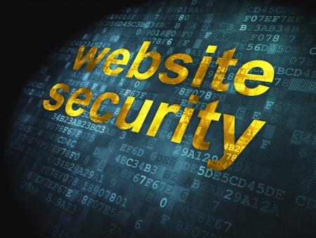 SEO web development concept  pixelated words Website Security on digital background, 3d render Stock Photo - 17885849