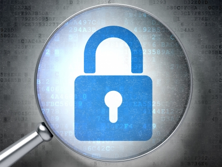 Magnifying optical glass with Closed Padlock icon on digital background, 3d render Stock Photo - 17885868