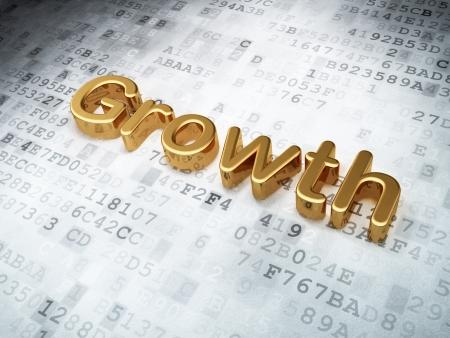 Finance concept  Golden Growth on digital background, 3d render photo