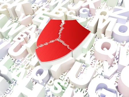 Security concept  Broken Shield on alphabet background, 3d render Stock Photo - 17885782