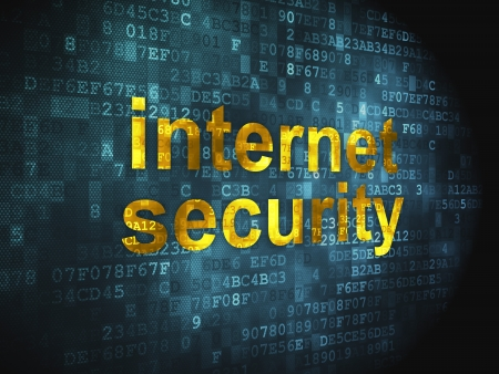 Safety concept  pixelated words Internet Security on digital background, 3d render Stock Photo - 17885844