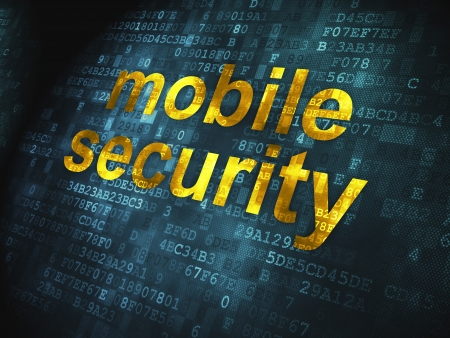 cyber crime: Safety concept  pixelated words Mobile Security on digital background, 3d render Stock Photo