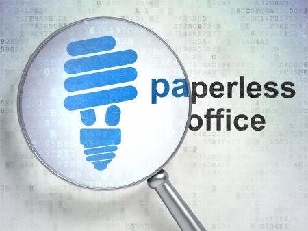 Lupa óptica con Energy Saving Lamp icono y Paperless palabra oficina en el fondo digital, 3d Foto de archivo