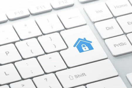 Privacy concept  enter button with Home on computer keyboard, 3d render, selected focus Stock Photo - 17885869