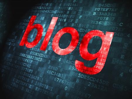 SEO web design concept  pixelated words Blog on digital background, 3d render Stock Photo - 17885915