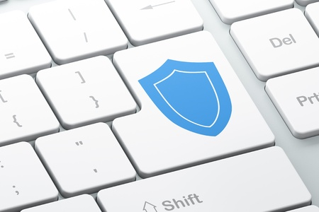 Safety concept  Enter button with Shield on computer keyboard, 3d render Stock Photo - 17885908