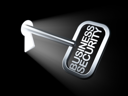 Protection concept  Business Security on key in keyhole, 3d render Stock Photo - 17885864