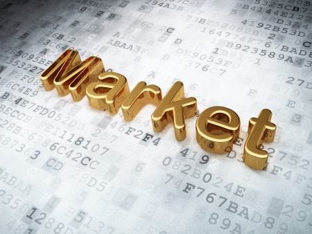 Finance concept  Golden Market on digital background, 3d render photo