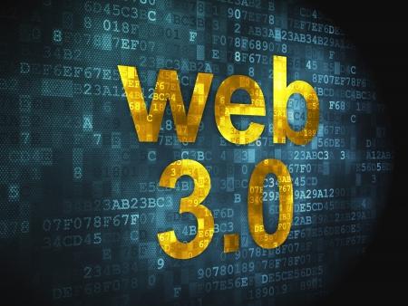 SEO web development concept  pixelated words Web 3 0 on digital background, 3d render Stock Photo - 17885947