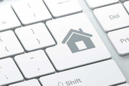 Finance concept  Enter button with Home on computer keyboard, 3d render Stock Photo - 17885932