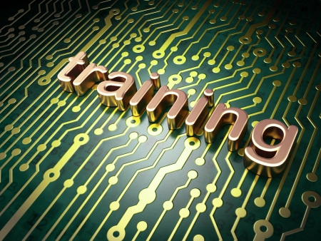 elearning: Education concept  circuit board with word Training, 3d render Stock Photo