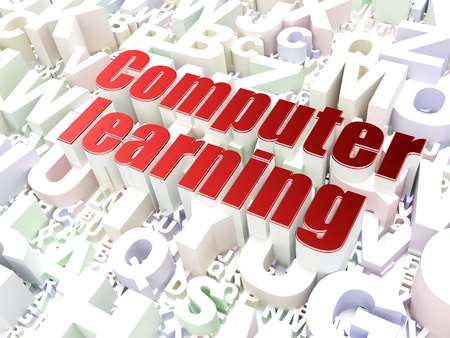 Education concept  Computer Learning on alphabet  background, 3d render Stock Photo - 17986516