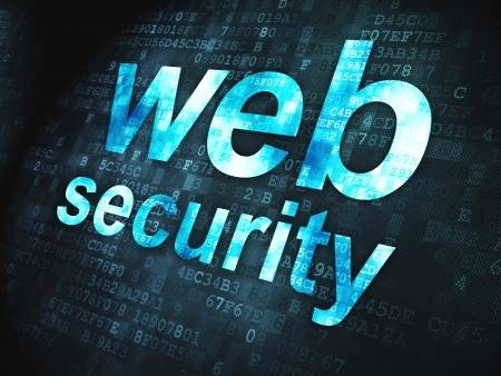 SEO web design concept  pixelated words Web Security on digital background, 3d render Stock Photo - 18296073