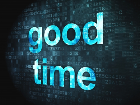 Time concept  pixelated words Good Time on digital background, 3d render photo
