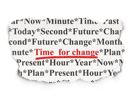 Time concept periódico rasgado con palabras Time for Change en el fondo Array, 3d