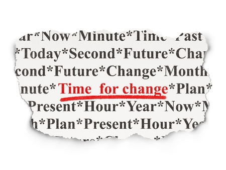 past: Time concept  torn newspaper with words Time for Change on Array background, 3d render Stock Photo