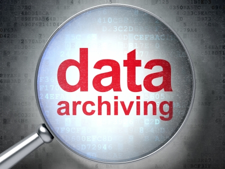 data archiving: Magnifying optical glass with words Data Archiving on digital background, 3d render