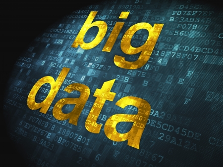 Concepto Información pixelada palabras de datos grandes en fondo digital, 3D, render