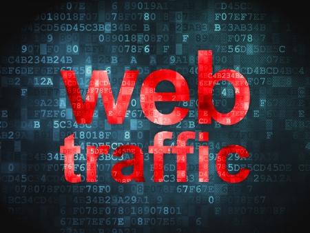 SEO concepto de desarrollo web pixelada palabras Tr�fico Web en fondo digital, 3d render