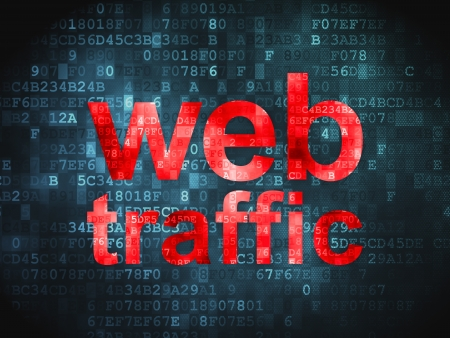 website traffic: SEO web development concept  pixelated words Web Traffic on digital background, 3d render Stock Photo