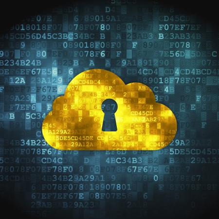 Cloud technology concept  pixelated Cloud Whis Keyhole icon on digital background, 3d render Stock Photo - 18400598