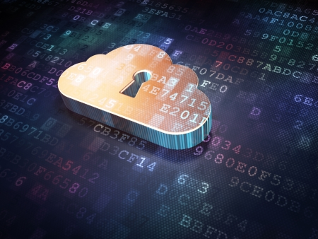 Cloud technology concept  Golden Cloud Whis Keyhole on digital background, 3d render Stock Photo - 18400473