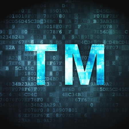 trademark: Law concept  pixelated Trademark icon on digital background, 3d render