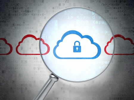 Magnifying optical glass with Cloud Whis Padlock icons on digital background, 3d render Stock Photo - 18400493