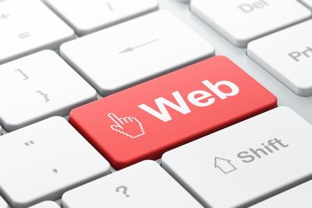 curseur souris: Web design concept de clavier d'ordinateur avec l'ic�ne du curseur de la souris et le mot Web, mise au point s�lectionn�e sur le bouton Entr�e, render 3d Banque d'images