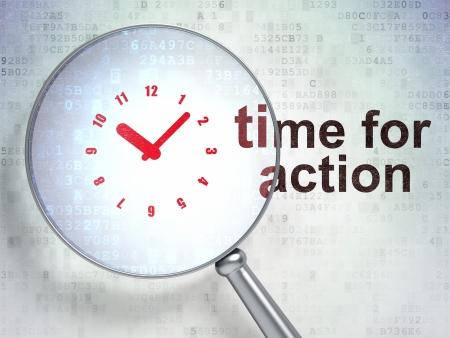 Lupa óptica con el icono del reloj y la hora de la palabra de Acción sobre fondo digital, render 3d Foto de archivo