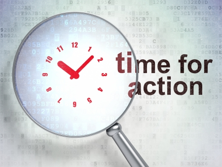 day time: Magnifying optical glass with Clock icon and Time for Action word on digital background, 3d render