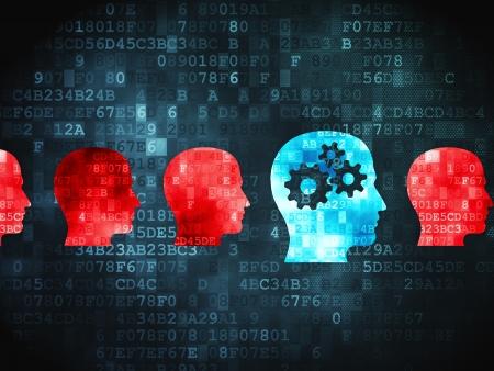 Concepto de educación pixelada Head Whis Engranajes icono en el fondo digital, 3d render
