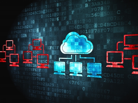 it technology: Cloud computing concept  pixelated Cloud Technology icon on digital background, 3d render Stock Photo