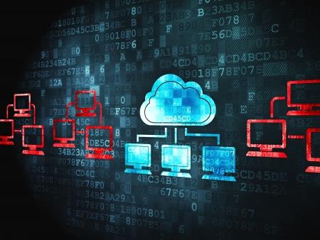 Concepto de computación en nube pixelada icono Nube Tecnología en fondo digital, 3d render Foto de archivo - 18400488