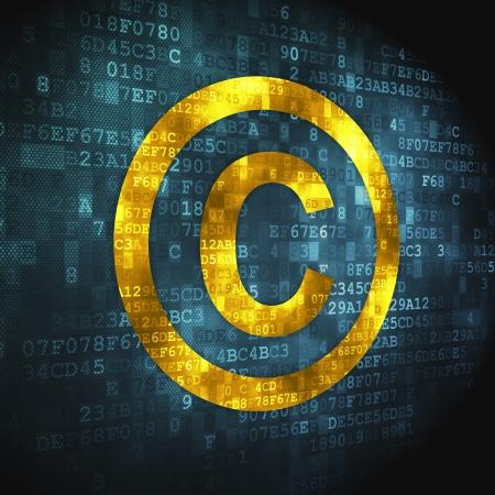 Concepto de la Ley del Derecho de Autor pixelada icono de fondo digital, 3d