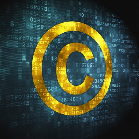information technology law: Law concept  pixelated Copyright icon on digital background, 3d render Stock Photo