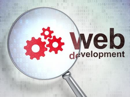 Lupa �ptica con engranajes icono y la palabra de Desarrollo Web en el fondo digital, 3d Foto de archivo