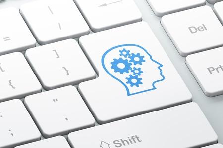 Concepto de la educación con la tecla Enter principal con los engranajes en el teclado del ordenador, 3d Foto de archivo