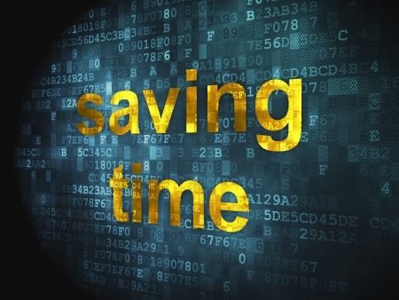 Time concept  pixelated words Saving Time on digital background, 3d render photo