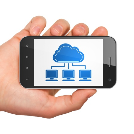 Cloud computing concept  hand holding smartphone with Cloud Network on display  Generic mobile smart phone in hand on White background Stock Photo - 18400456