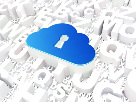 Cloud technology concept  Cloud Whis Keyhole on alphabet background, 3d render Stock Photo - 18400457