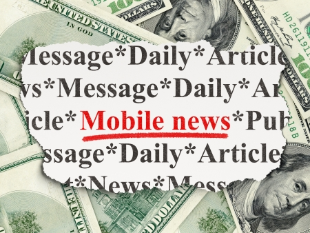 News concept  torn newspaper with words Mobile News on Money background, 3d render Stock Photo - 18400631