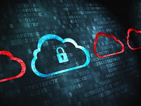 Concepto de nube pixelada tecnología nube icono del candado en el fondo Whis digital, 3d render