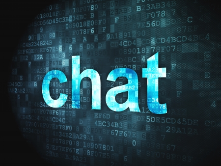 SEO web development concept  pixelated words Chat on digital background, 3d render Stock Photo - 18400485