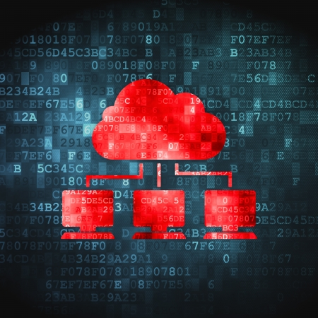 Cloud technology concept  pixelated Cloud Network icon on digital background, 3d render Stock Photo - 18400586