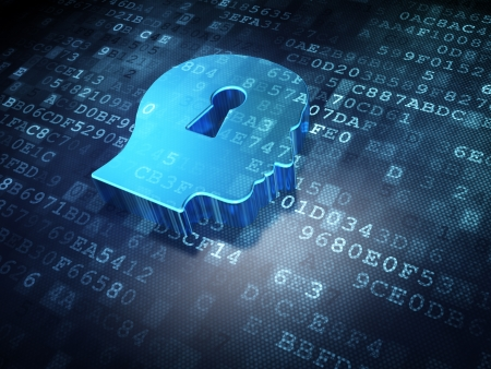 Data concept  Blue Head Whis Keyhole on digital background, 3d render Stock Photo - 18400481