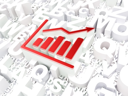 Business concept  Growth Graph on alphabet background, 3d render photo