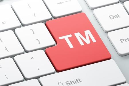 Concepto de la Ley de Marcas con el botón Enter en el teclado de computadora, render 3d
