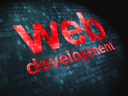 SEO web development concept  pixelated words Web Development on digital background, 3d render Stock Photo - 18428525